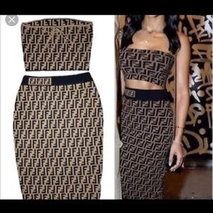 ac2d0d47a1914 Selling matching Fendi crop and Knee length skirt